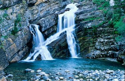 cross waterfall near Waterton lakes.  Alberta,  Canadia.  1998.