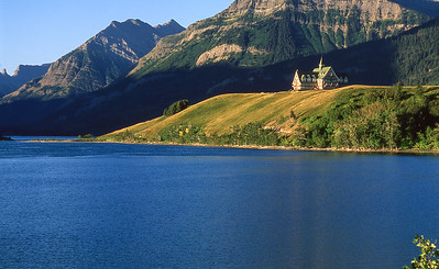 The Prince Of Wales hotel overlooks waterton lakes.  Built by the American Great Northern Railroad in the mid 1920's.  It was a popular railroad destination during probition.  Waterton Lakes, Canada.