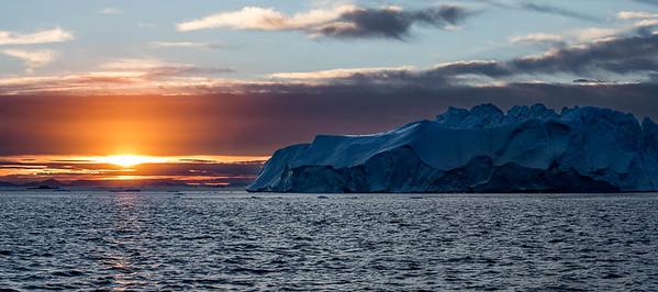 Sunset over Iceberg, Disko Bay, Illulissat, Greenland
