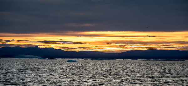Sunset on Disko Bay, near Illulissat, Greenland.