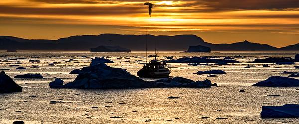 Sunset over Icebergs, Disko Bay, Illulissat, Greenland