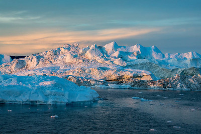Sunset on Icebergs, Disko Bay, Illulissat, Greenland