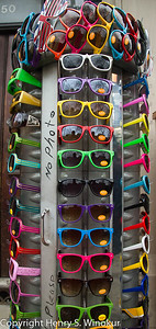 ©2010 Henry S. Winokur Sunglasses on a display rack in London.