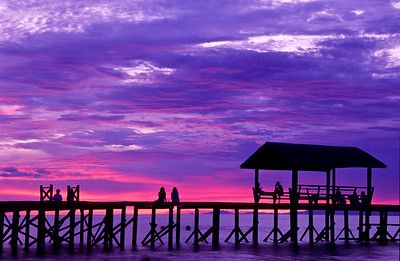 Pier at sunset.  Sipadan Island,  Celebes Sea,  Malaysia.  1996