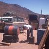 Getting gas at private station.  El Pedregoso, Baja California, Mexico. 1974
