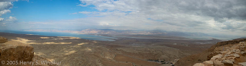 A pano from 3 images from atop Masada, looking east, across the Dead Sea into Jordan.