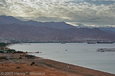 The port of Aqaba (In Jordan)...isn't that the biggest flag you've ever seen?  We were still in Israel at the time...taken from our hotel in Eilat.