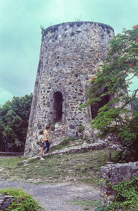 Ruins of a Windmill tower.  Used in the early 1900's for manufacturing rum.   Maximum production was about 35,00 gallons/year.  Cinnamon Bay, St. John Island, US Virgin islands.  1979