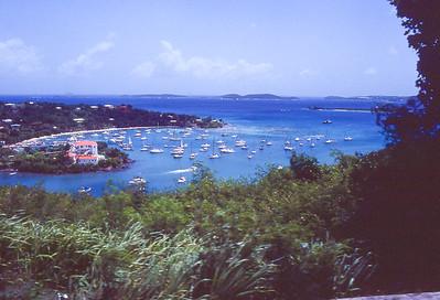 Overview of Cruz Bay.  St. John Island, US Vergin islands.  1979