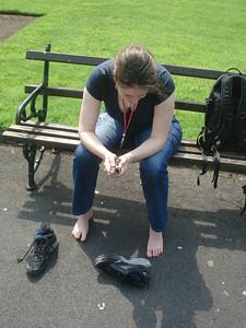Resting her feet
