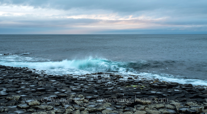 At Giant's Causeway at dusk.
