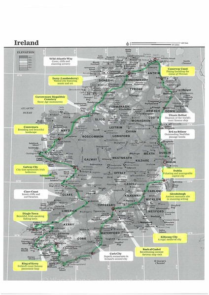 15 days in Ireland, Route Map