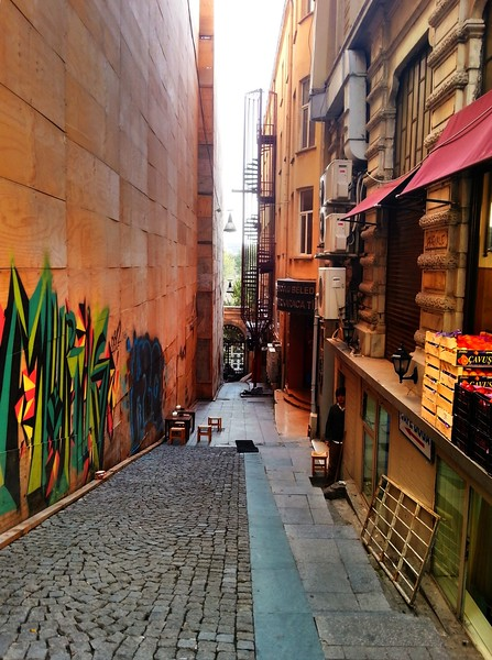 Istanbul street with graffity