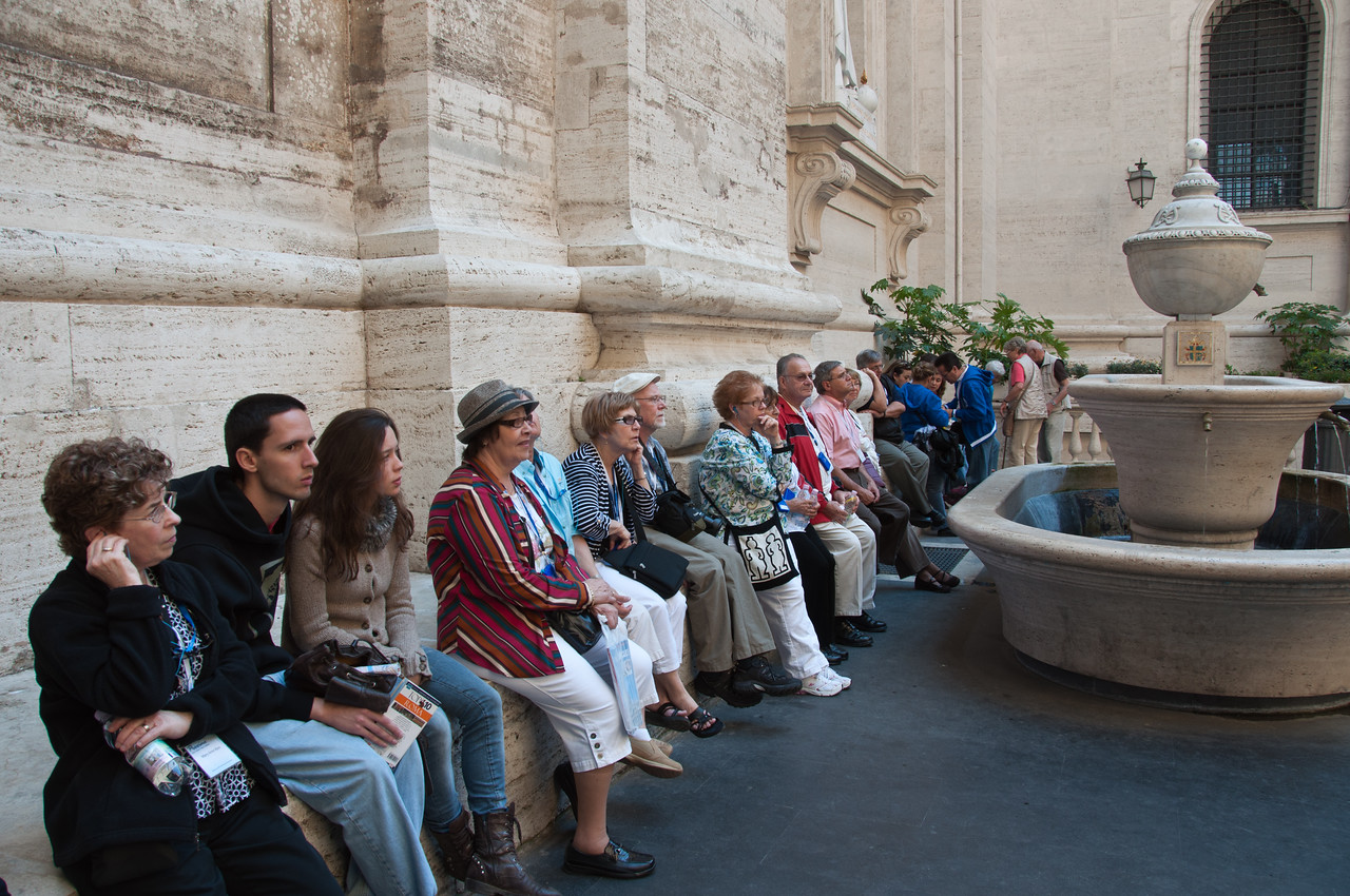 Mary Anne, Sandy, Virginia, Richard, Wanda, Hiram, and Bob outside St. Peter's Basilica.