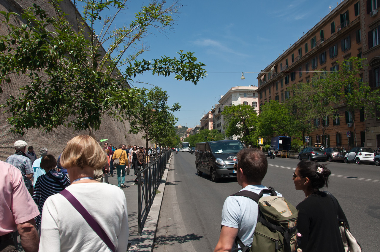 Walking to the entrance of the Vatican.