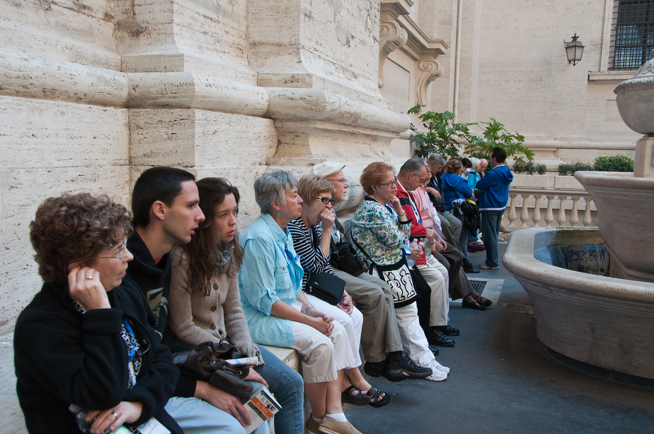 Mary Anne, Sandy, Virginia, Richard, Wanda, and Hiram outside St. Peter's Basilica.