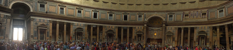 Panorama of a portion of the inside of the Pantheon.