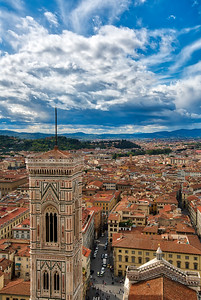 Giotto's marble-faced tower in Florence Italy