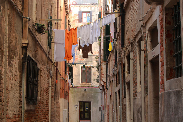 Italy, Venice, Washing Draped between Buildings