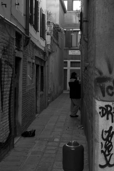 Italy, Venice, Another Alleyway with a Man and Some Graffiti SNM