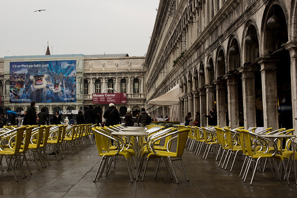 Italy, Venice, Tables and Chairs in San Marco's Square SNM