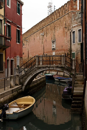 Italy, Venice, Canal and City Wall SNM