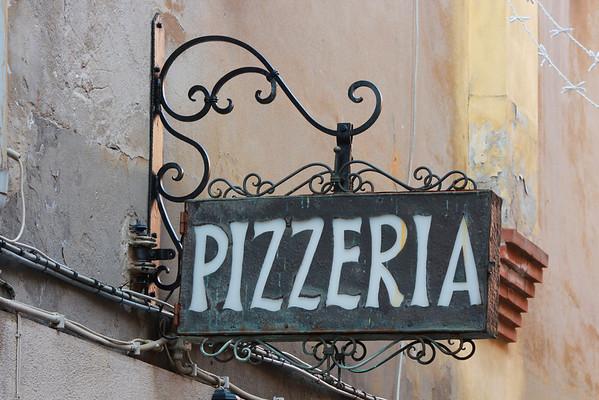 Italy, Venice, Pizzeria Sign