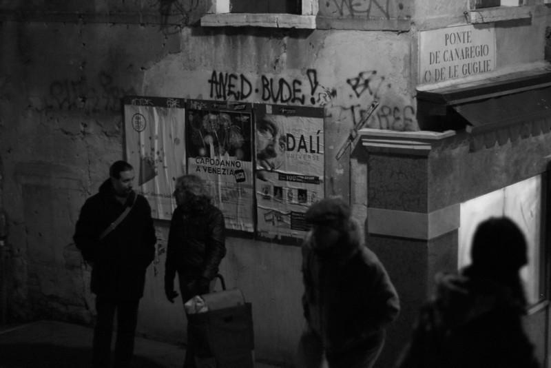 Italy, Venice, Graffiti at Night SNM