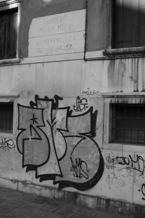 Italy, Venice, Graffiti on a Wall SNM