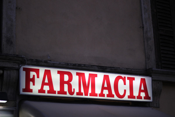 Italy, Verona, Pharmacy Sign