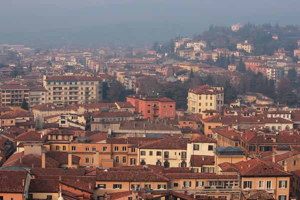 Italy, Verona, View from Tower in Pizza Erbe