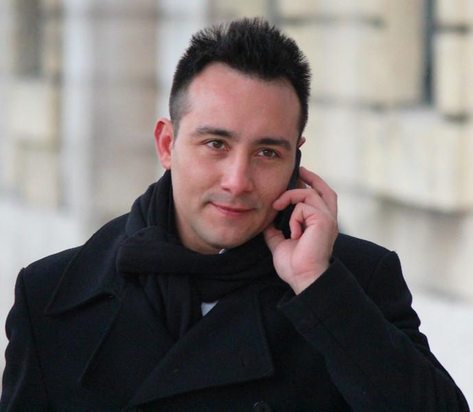 Italy, Verona, Man on Mobile Phone