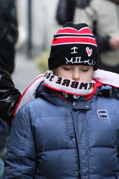Italy, Verona, Child with I Love Milan Beanie