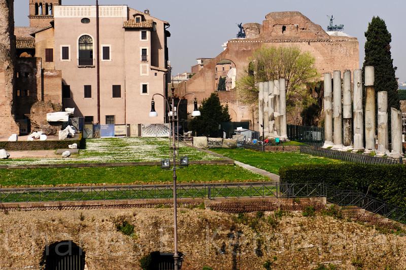 Outside the Coliseum. Restoration in progress.
