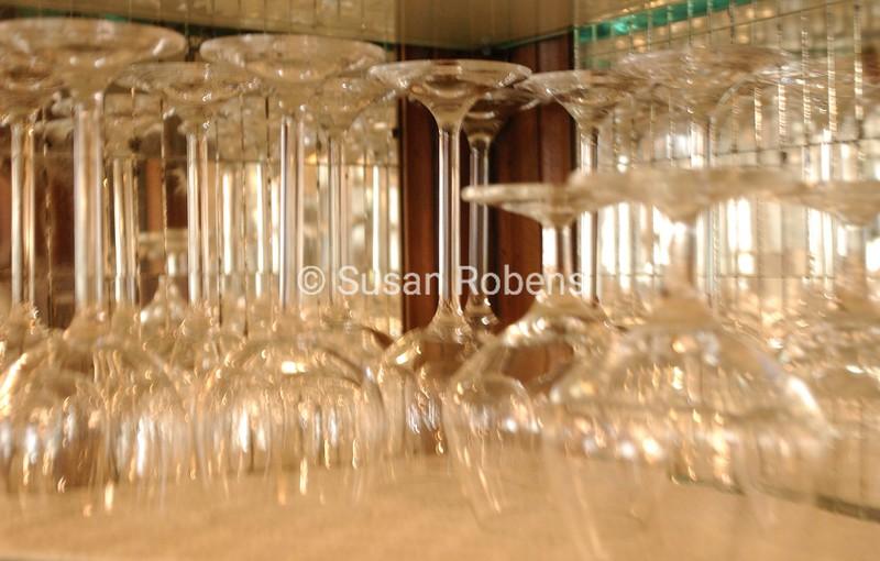 shelf of wine glasses