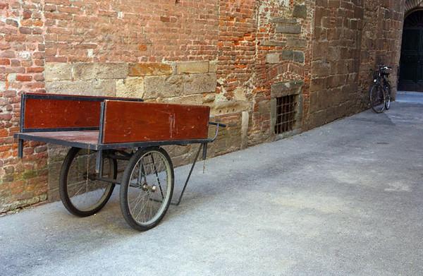 Lucca - Brick Wall, Cart and Bike
