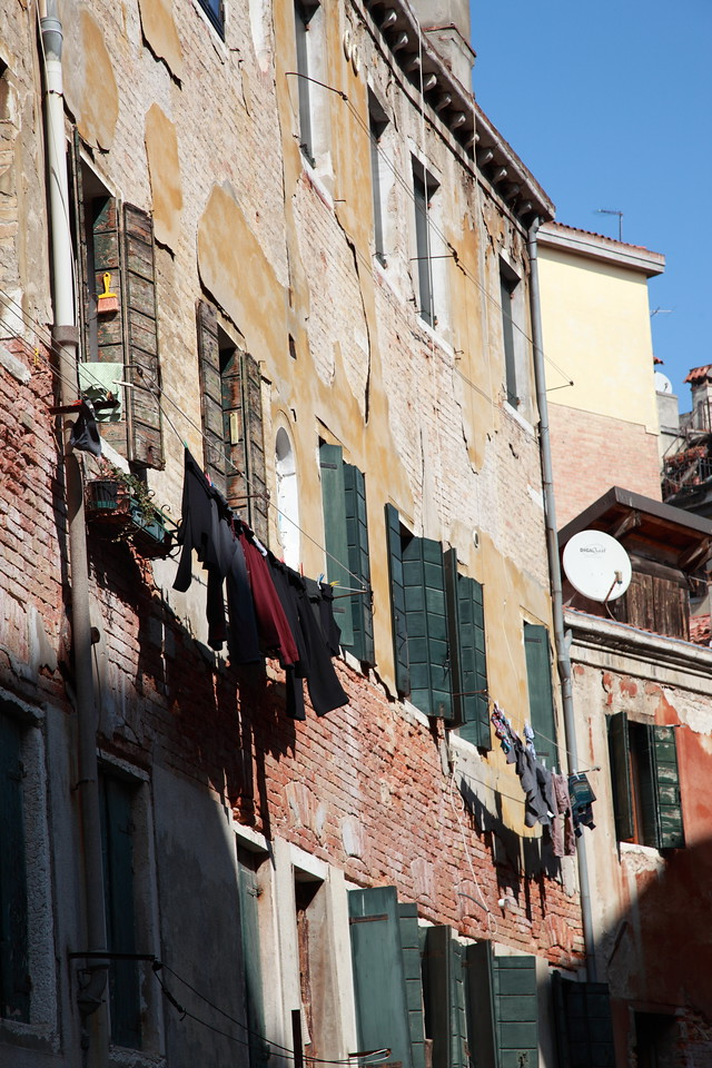 Laundry hainging outside the windows, Venice, Italy