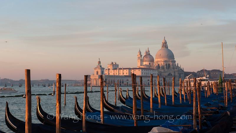 Dome of Santa Maria de la Salute over gondolas at sunrise in Venice (Jan. 2015)