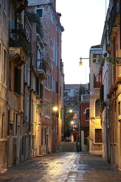 A quiet alleyway in Venice, Italy