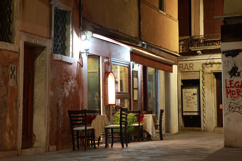 Restaurant tables and chairs in Venice