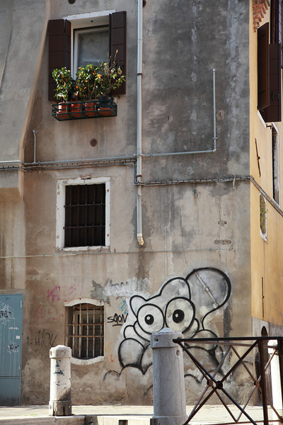 Windowbox and graffiti in Venice
