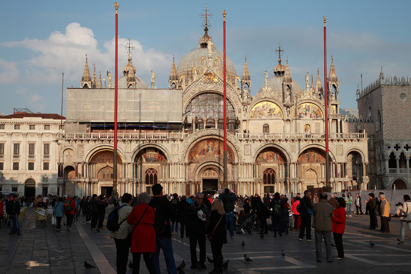Tourists in front of St Mark's Basilica, St Mark's Square, Venice, Italy