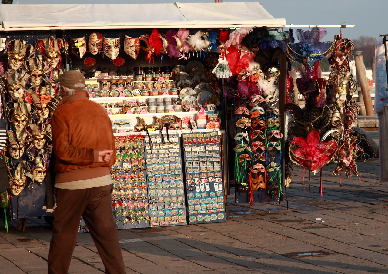 A market stall in Venice, selling souvenirs