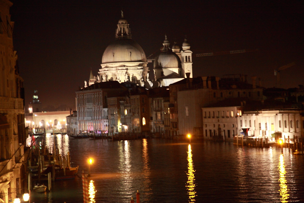 The Basilica of Santa Maria della Salute, Canal Grande, Venice, Italy, at night