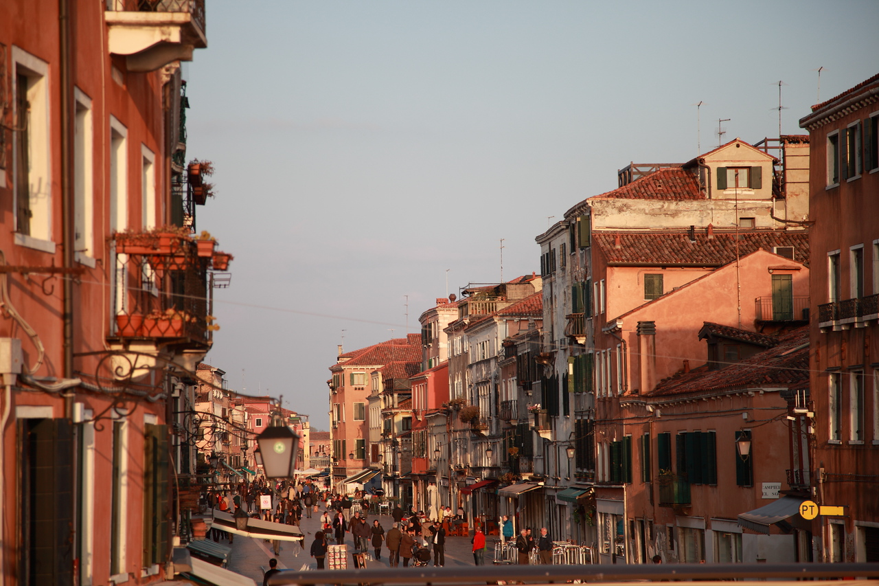 Venice bathed in the warm evening light
