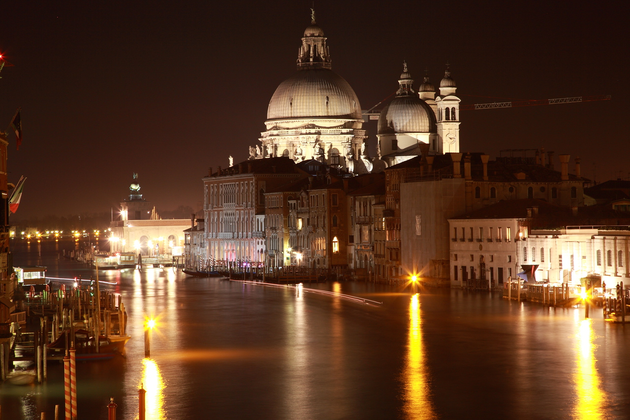 The basilica of Santa Maria della Salute on the Grand Canal, Venice, at night