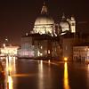 The basilica of Santa Maria della Salute on the Grand Canal, Venice, at night