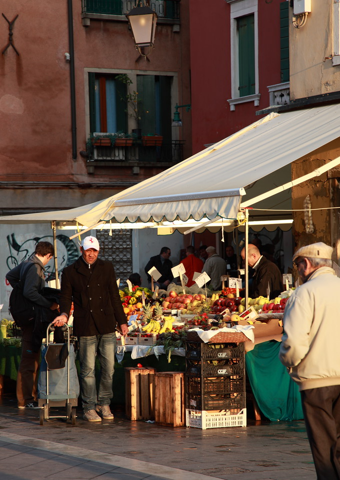 Fresh fruit and vegetables for sale at a stall in Venice, Italy