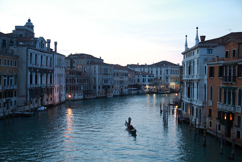 A lone gondolier makes his way home on the Canal Grande (Grand Canal) in Venice