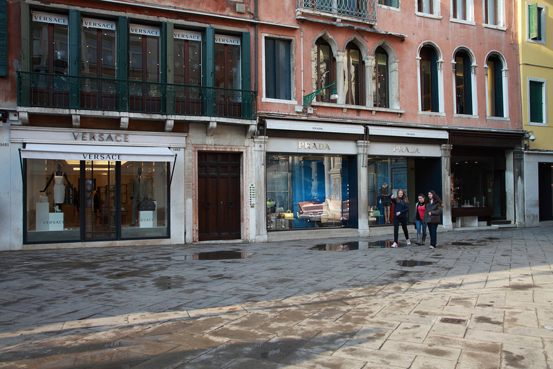 Piazza with shops in Venice, Italy